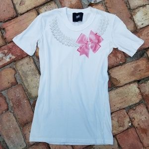 D & G DOLCE and Gabbana Tee Shirt White Pink Bow